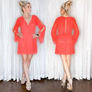 Arden B Coral Flowy Party Dress